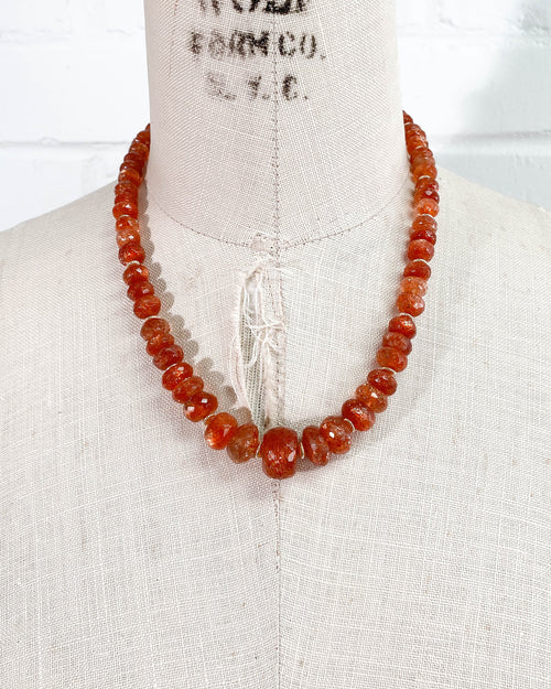 Graduated AAA Sunstone Strand Necklace