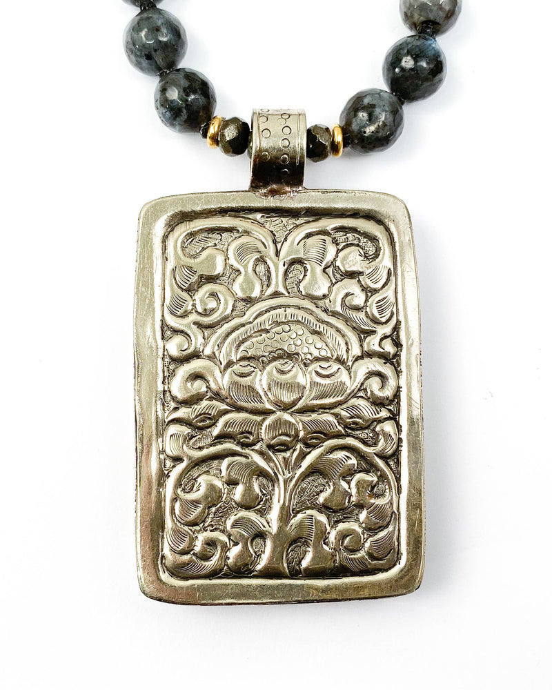 Nepali Hand-Carved Buddha Repousse Pendant on Marbled Labradorite Necklace