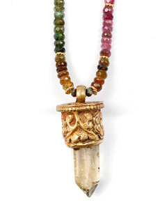 Ruby Hand-Knotted Stand Necklace with Optional Byzantine Replica Coin Pendant