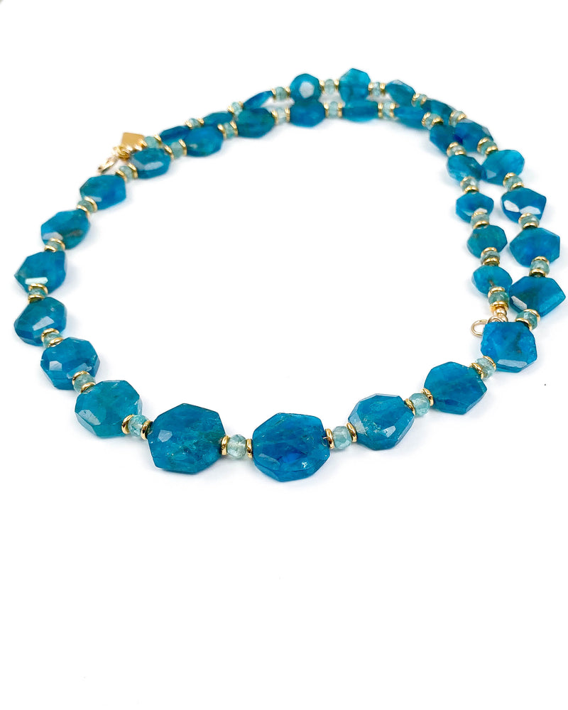 Octagonal Ocean Blue Apatite with Sky Blue Apatite Accents Strand Necklace