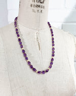 Faceted Amethyst and White Moonstone Strand Necklace