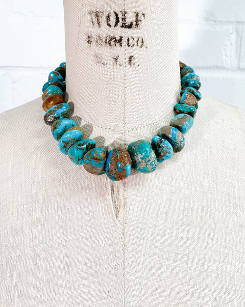 Undyed Arizona Kingman Turquoise Nugget Necklace