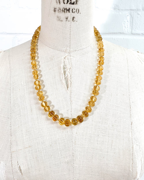 Hand-Carved Citrine Strand Necklace