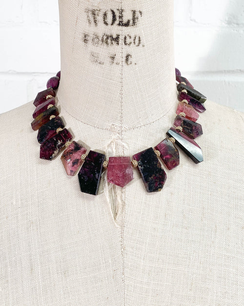 AAA Quality Pink/Black Tourmaline & Ruby Nugget Statement Necklace