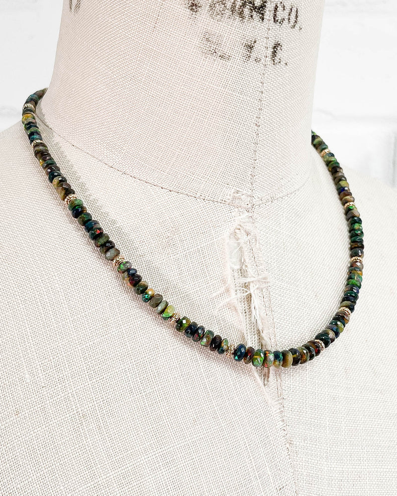 Black Ethiopian Opal Rondelle Strand Necklace