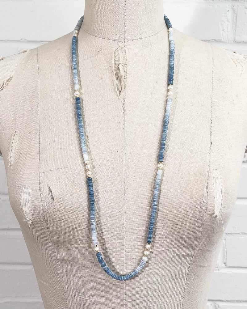 White Freshwater Pearl and Blue Owyhee Opal Strand Double Wrap Necklace