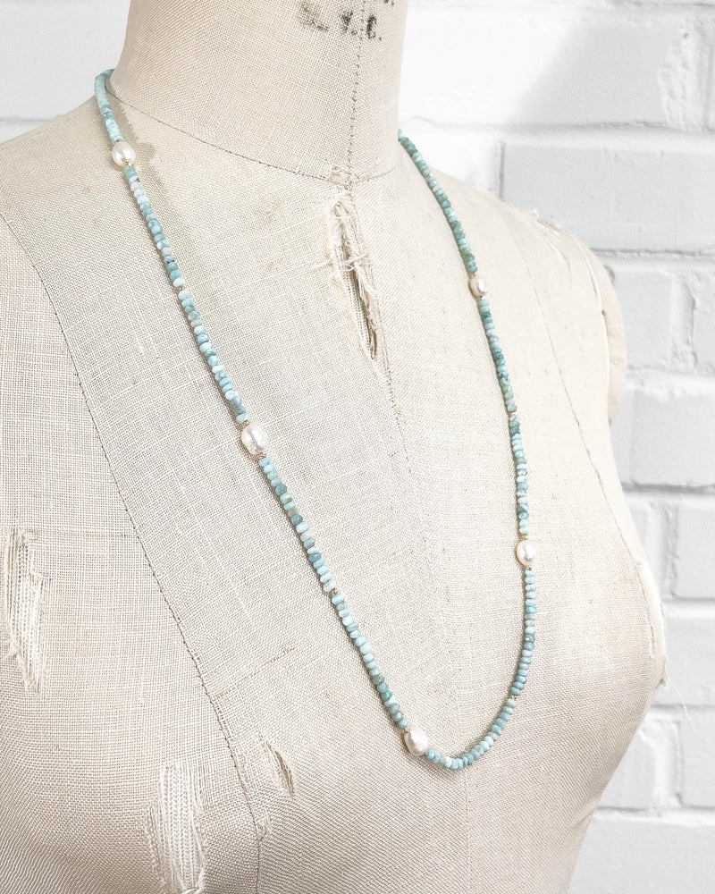 14k Gold, White Freshwater Pearl, and Larimar Long Strand Necklace