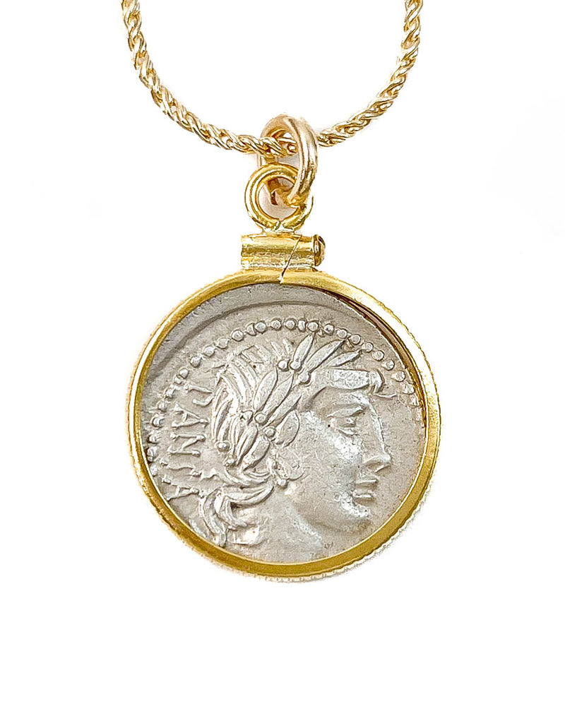 14k Gold Filled Genuine Ancient Greek Coin Necklace (Apollo; 90 B.C.)