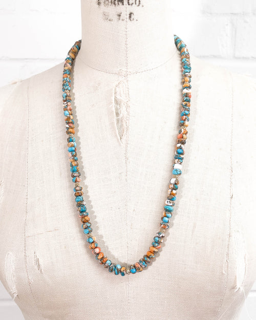 Oyster Shell Kingman Turquoise Strand Necklace