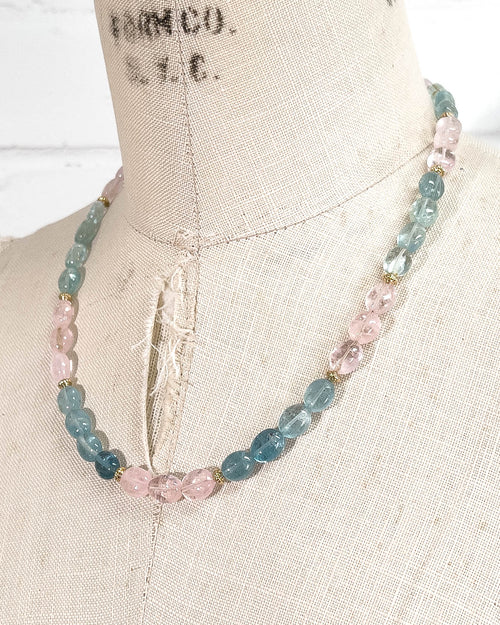 Morganite and Aquamarine Beryl Strand Necklace