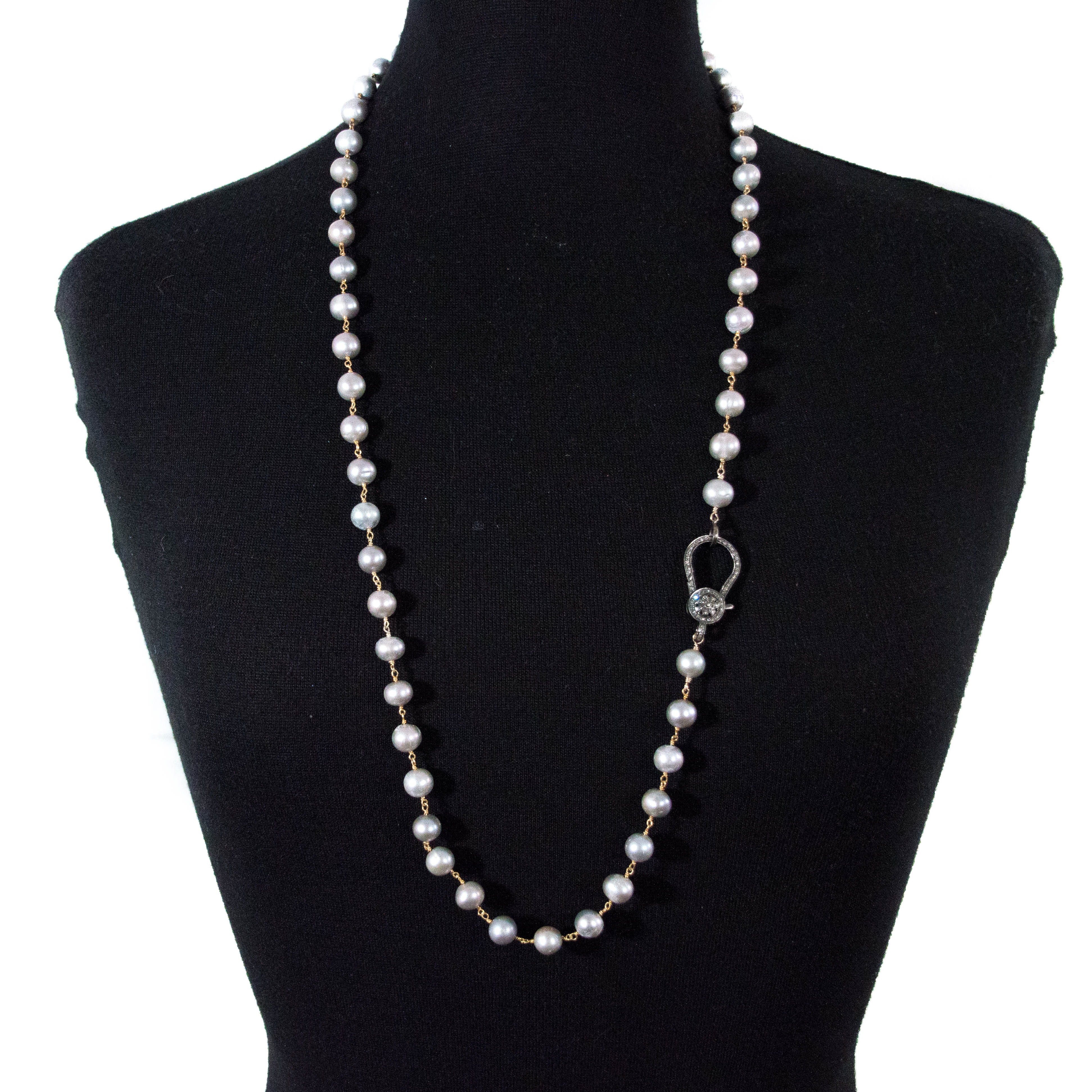 POLKI DIAMOND GREY PEARL NECKLACE