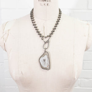 Pavé Diamond Druzy Quartz on Diamond Clasp & Pyrite Necklace