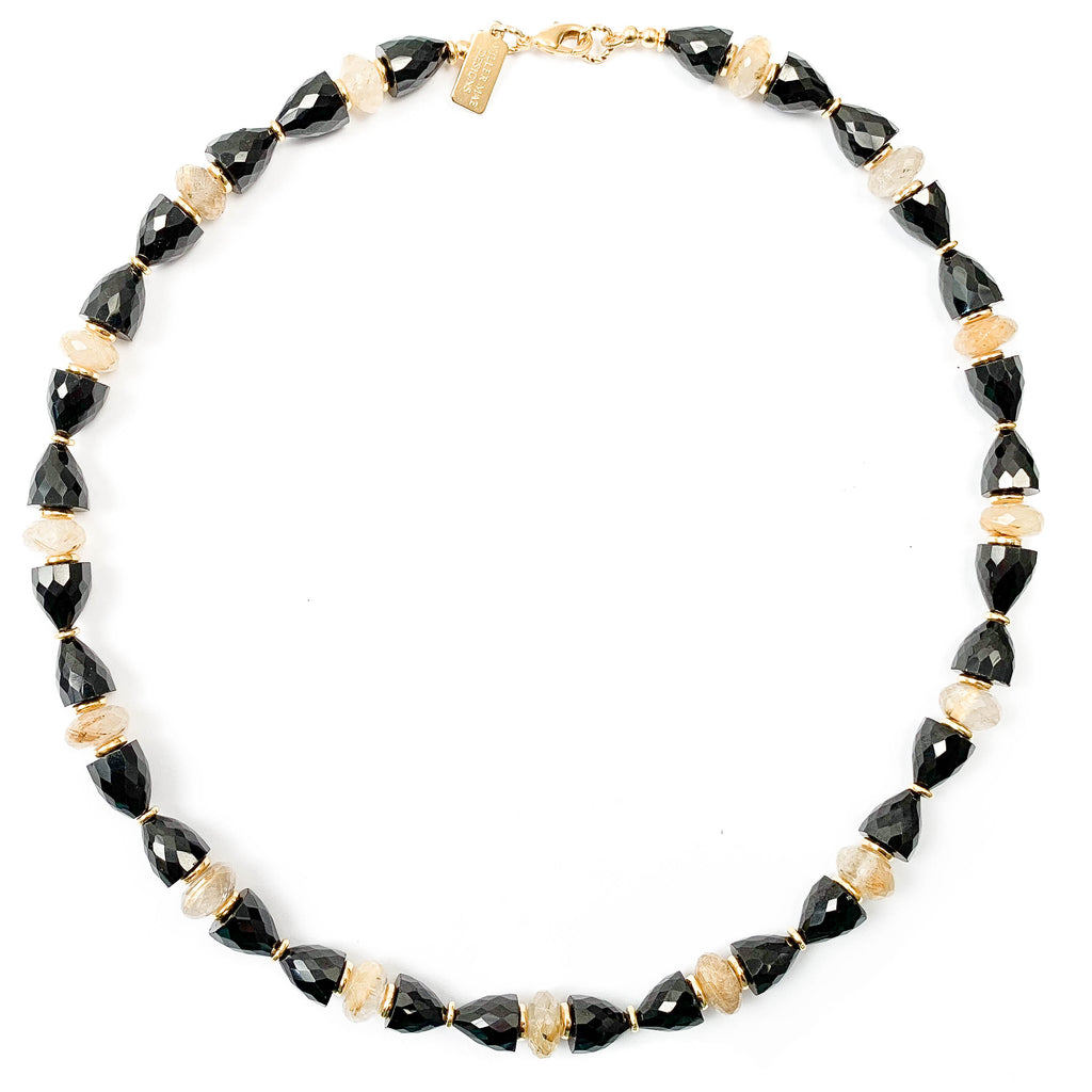 Black Spinel & Golden Citrine Necklace