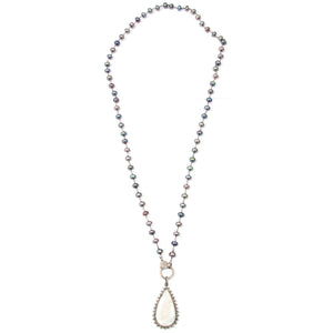 DIAMOND MOONSTONE PENDANT & PEACOCK PEARL NECKLACE