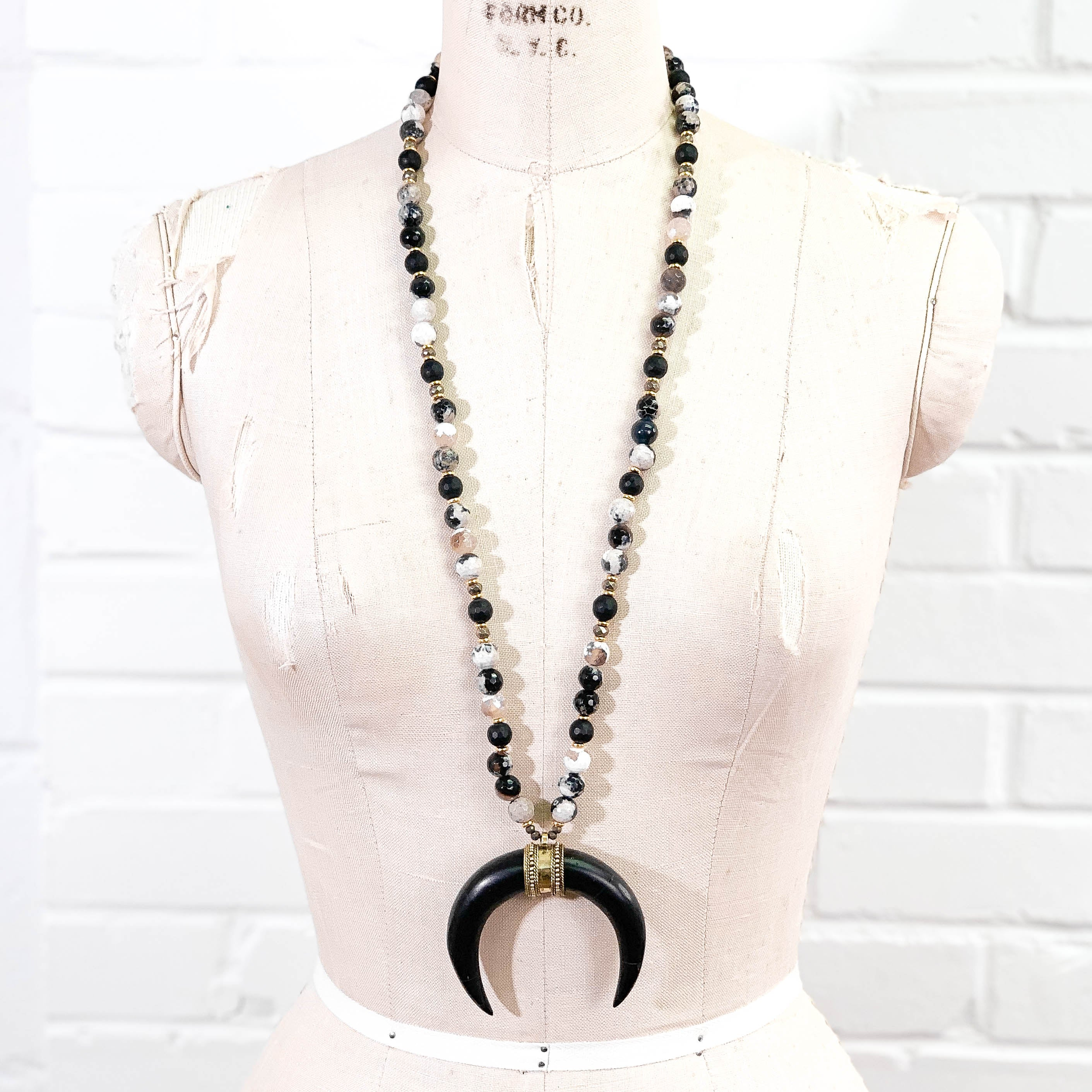 Tibetan Crescent Horn Pendant on Agate & Onyx Necklace