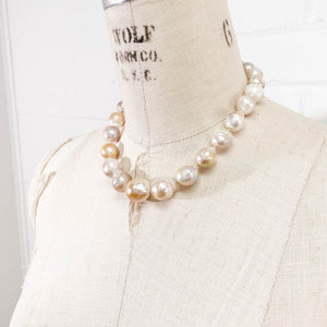 14k Gold and Pink-White Large Baroque Pearl Necklace