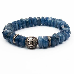 Pokli Diamond Ball & Faceted Blue Kyantie Bracelet