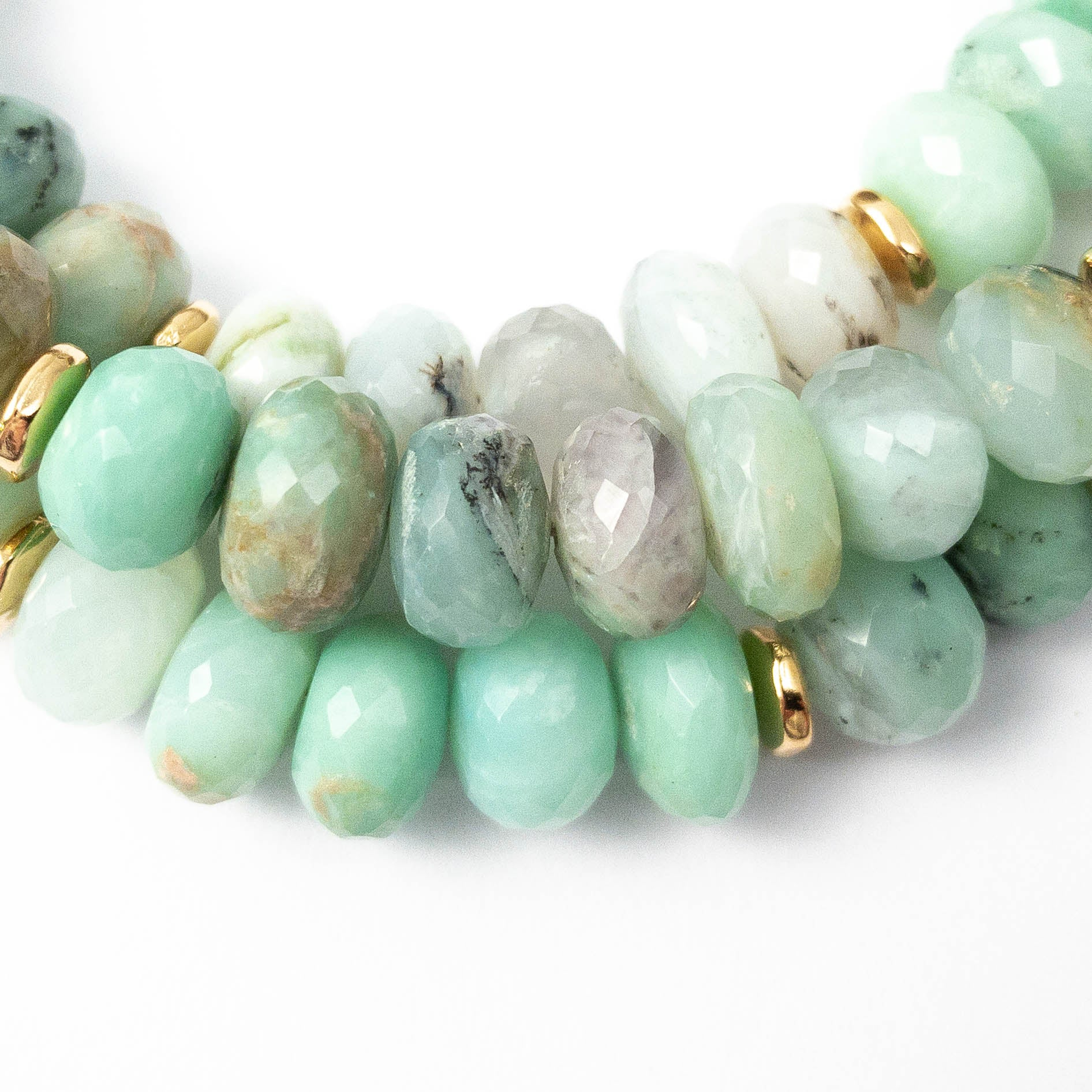 Faceted Natural Peruvian Opal Strand Necklace