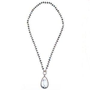 Pavé Diamond Dendritic Opal Pendant on Labradorite Wire-Wrapped Necklace