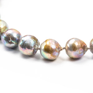 Grey/Light Peacock Baroque Pearl Knotted Necklace with Diamond Clasp