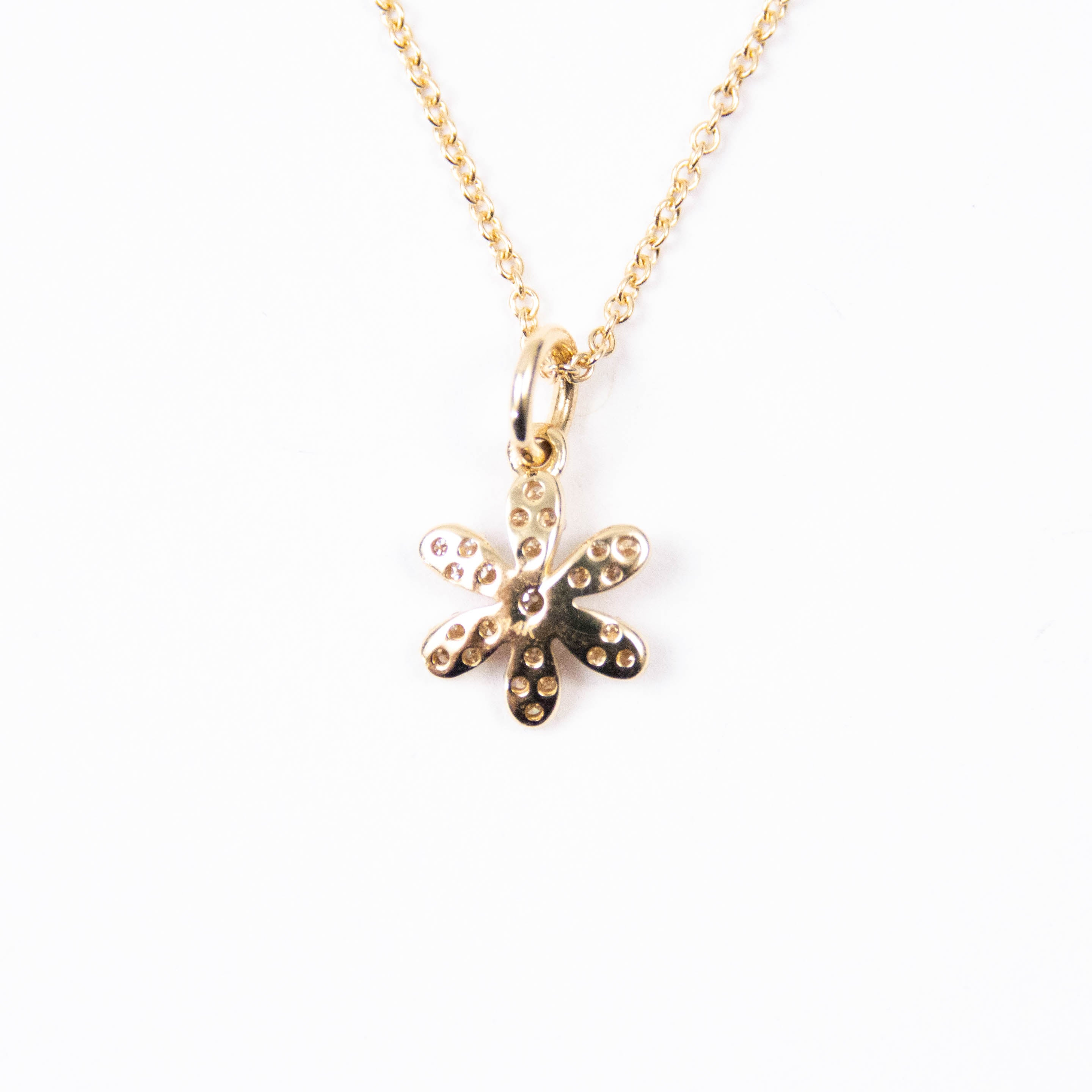 14kt Gold & Diamond Flower Charm Necklace