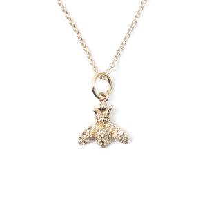 14k Gold & Diamond Bee Charm Necklace