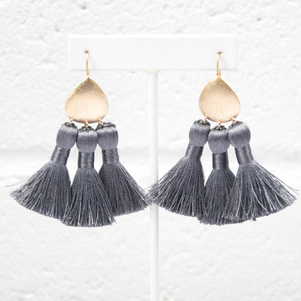 PEARL GREY BOHEMIAN TASSEL EARRINGS