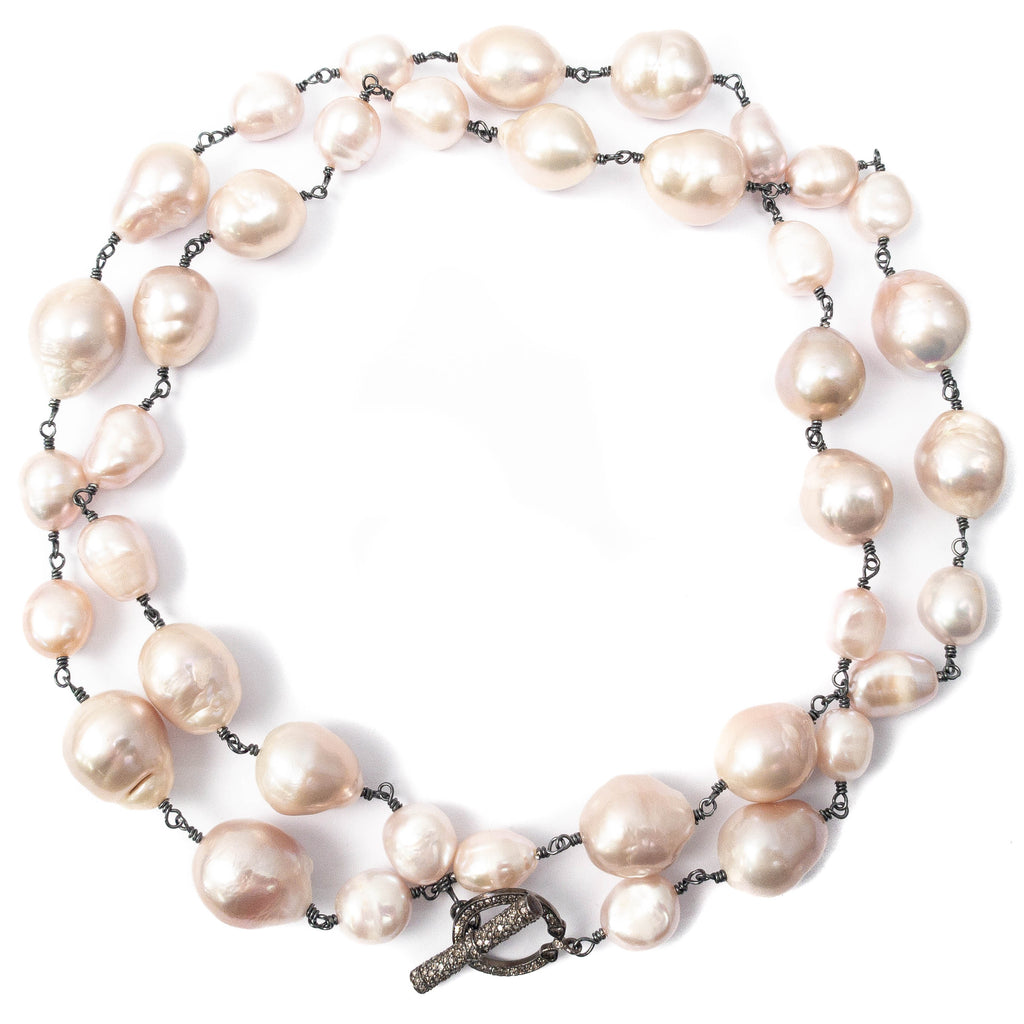 Pink/Beige Multi-Sized Baroque Pearl & Diamond Toggle Necklace