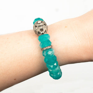 Polki Diamond Focal & Faceted Amazonite Bracelet