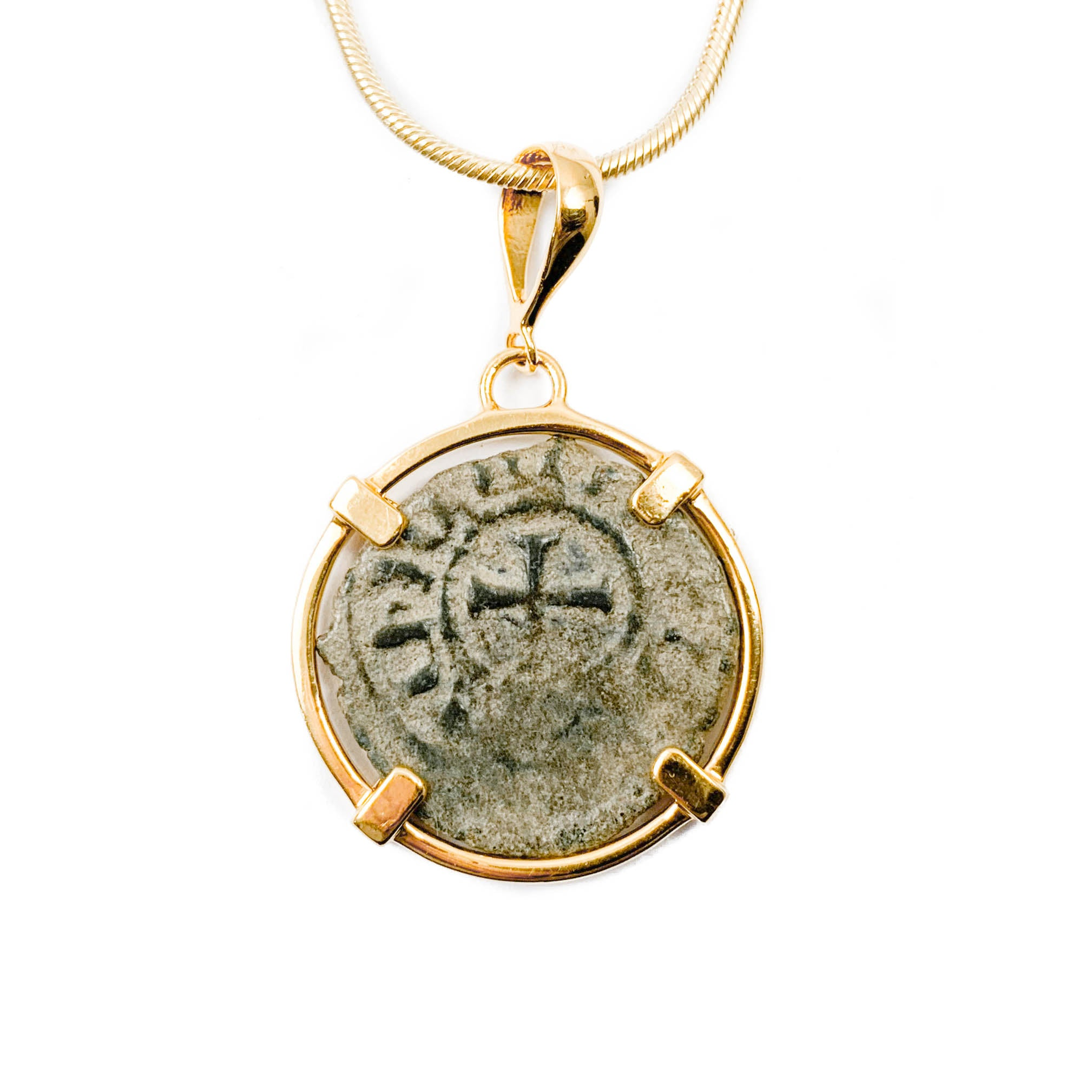 "Genuine Ancient ""Coin of the Crusades"" Necklace (HENRY II of CYPRUS & JERUSALEM, 1310-1324 A.D.)"