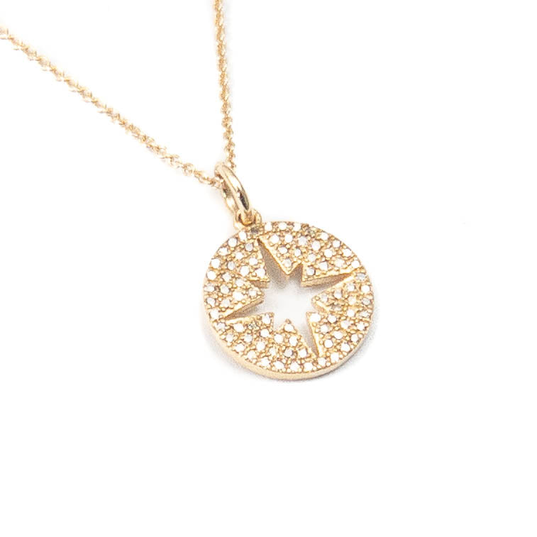 14k Gold & Diamond North Star Charm Necklace