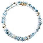 Aquamarine & Swarovski Glass Pearl Necklace