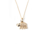 14k Gold & Diamond Elephant Charm Necklace