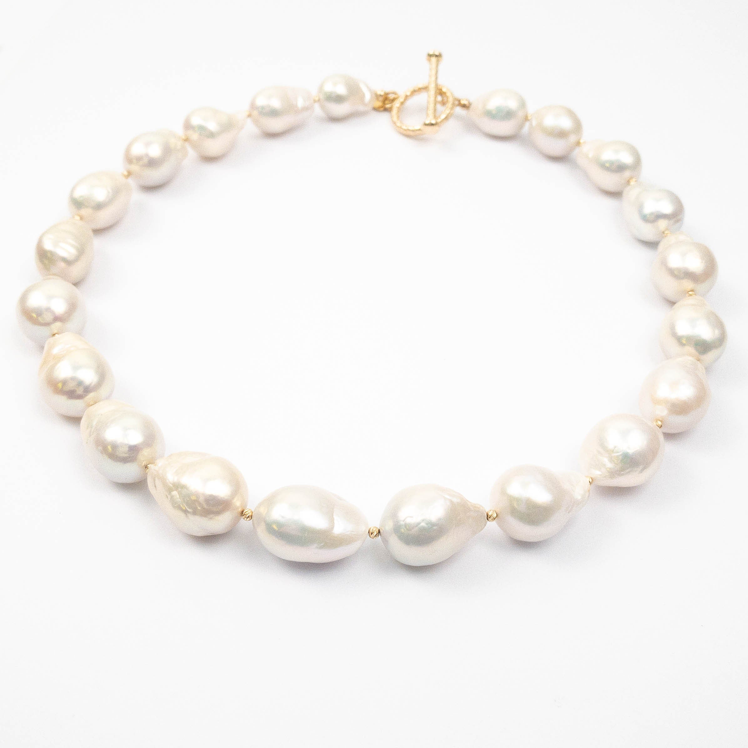 14k Gold & White Baroque Pearl Necklace