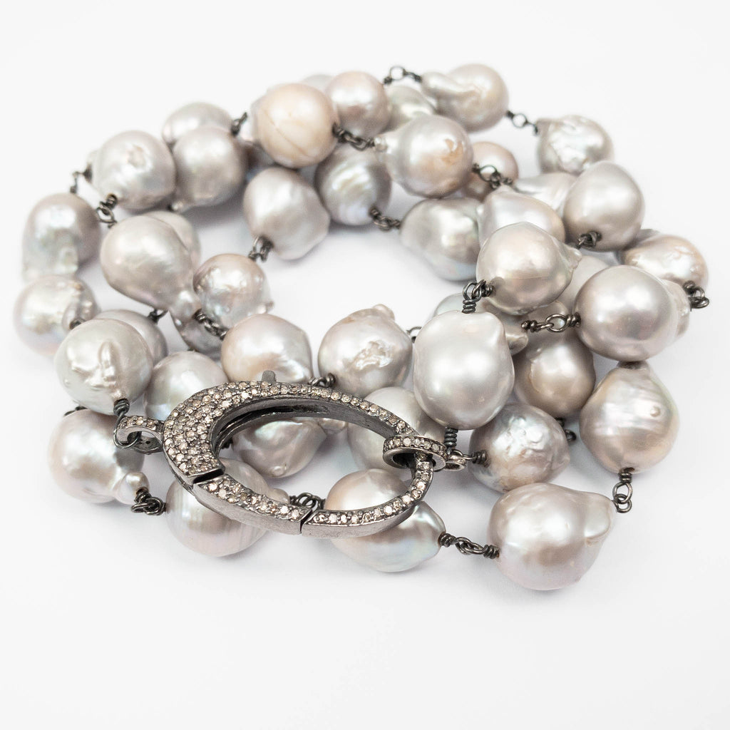 Diamond Clasp & Grey Baroque Pearl Necklace