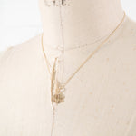 14k Gold & Diamond Lotus Flower Charm Necklace