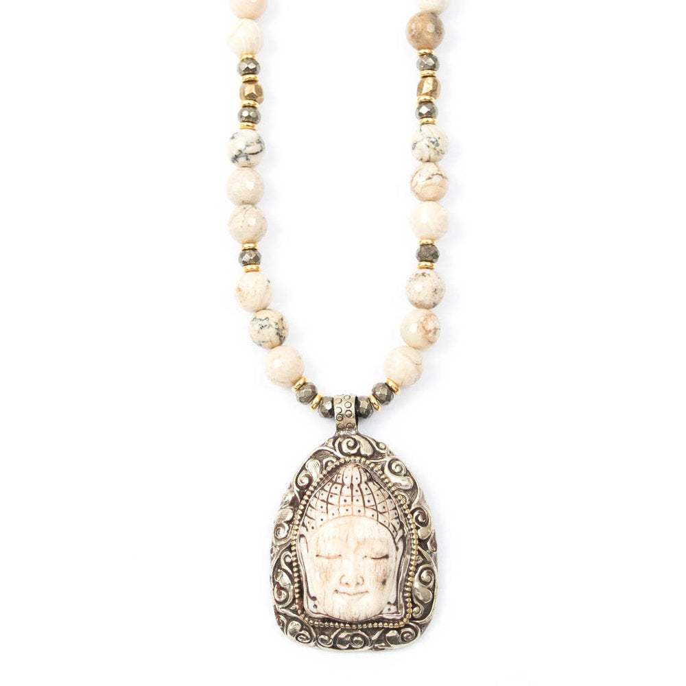 Nepal Buddha Scrimshaw Pendant Necklace with African Opals by Miller Mae Designs