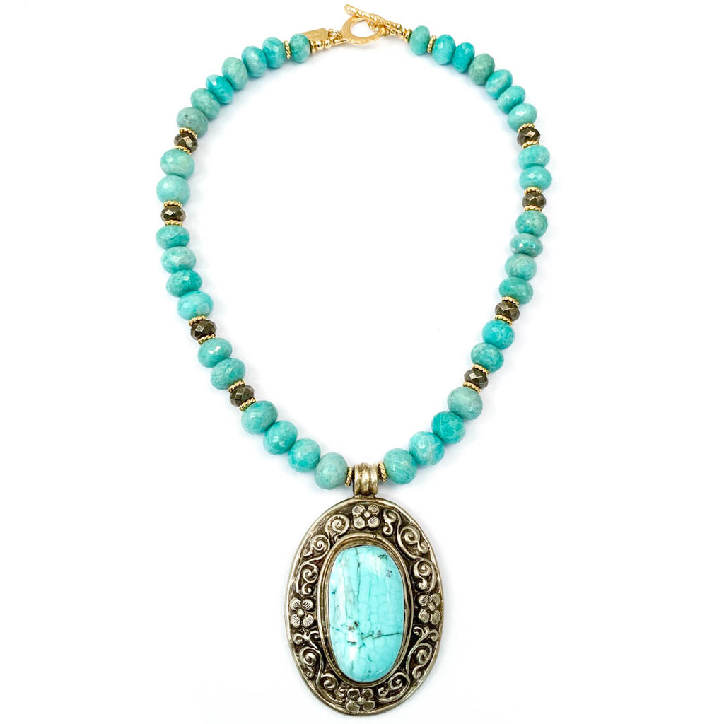 Nepali Repousse Turquoise Pendant on Amazonite Necklace