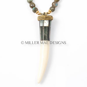 LABRADORITE & ABALONE PLATED HORN NECKLACE