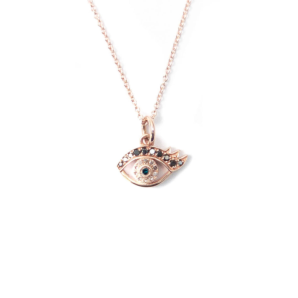 14k Rose Gold, Diamond, Black Spinel, & Sapphire Evil Eye Charm Necklace