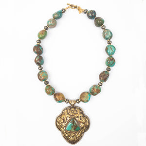 Nepali Turquoise Repousse Pendant on Turquoise Nugget Necklace