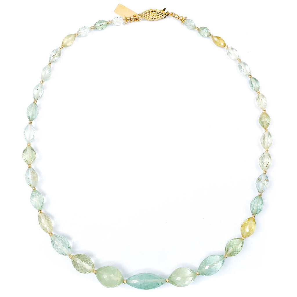 14k Gold & Faceted Moss Aquamarine Necklace