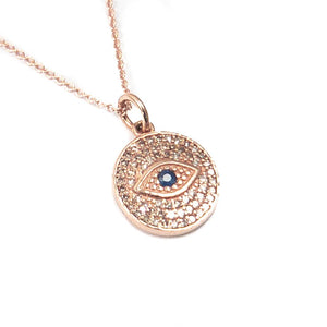 14k Rose Gold, Diamond, and Blue Sapphire Evil Eye Charm Necklace