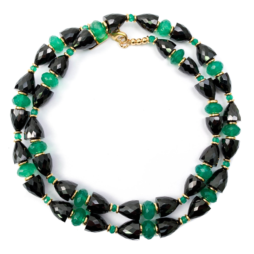 Black Spinel & Green Chalcedony Necklace