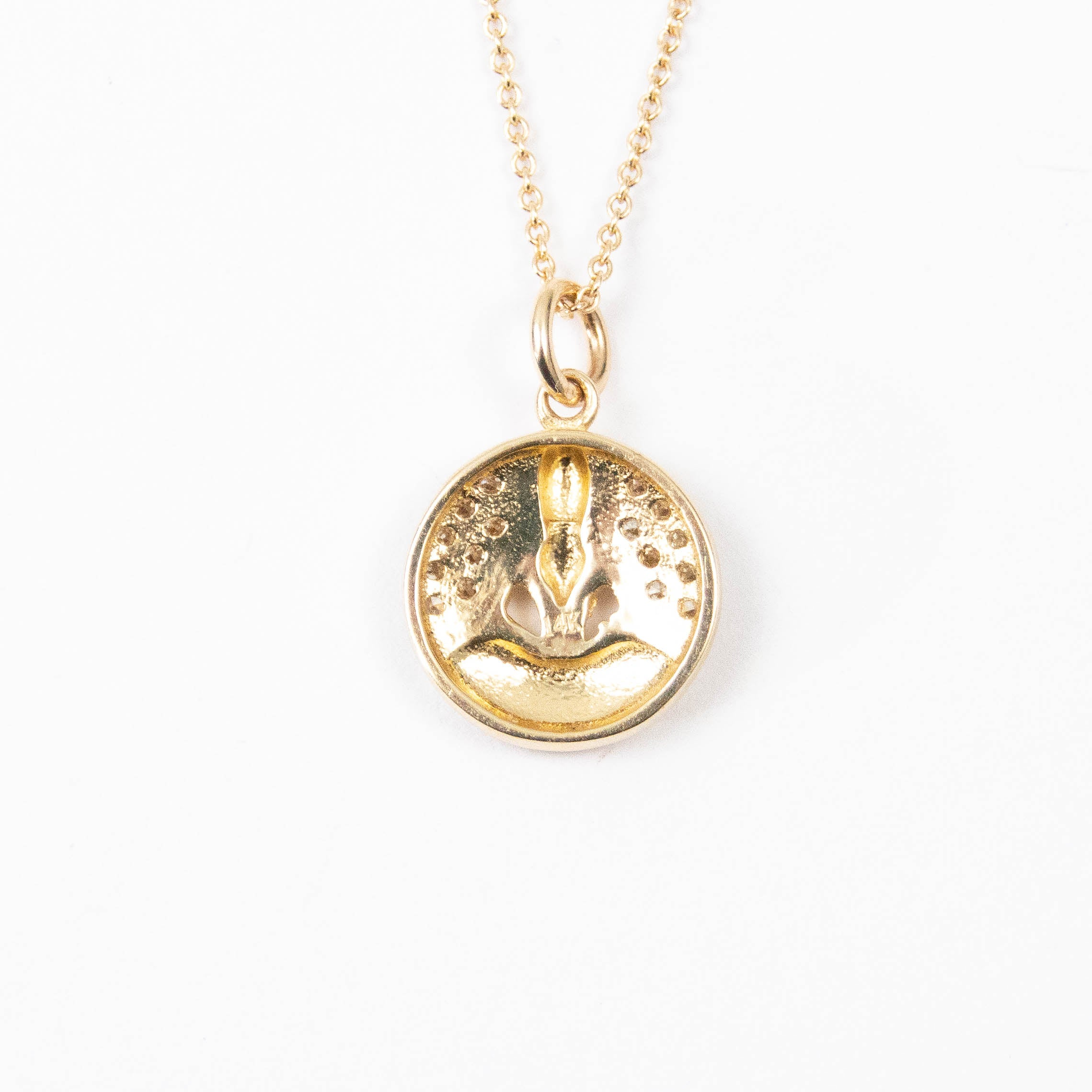 14kt Gold & Diamond Meditating Buddha Charm Necklace