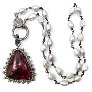 Pavé Diamond Eudialyte Pendant on Grey Freshwater Pearl Necklace