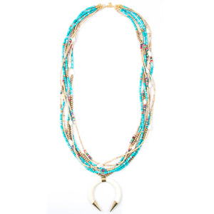 Turquoise Crescent Seven Strand Statement Necklace