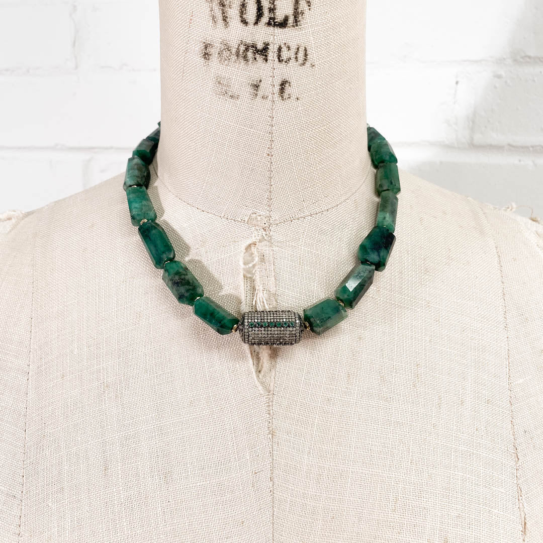 14k Gold & Sterling Diamond & Natural Emerald Nugget Necklace