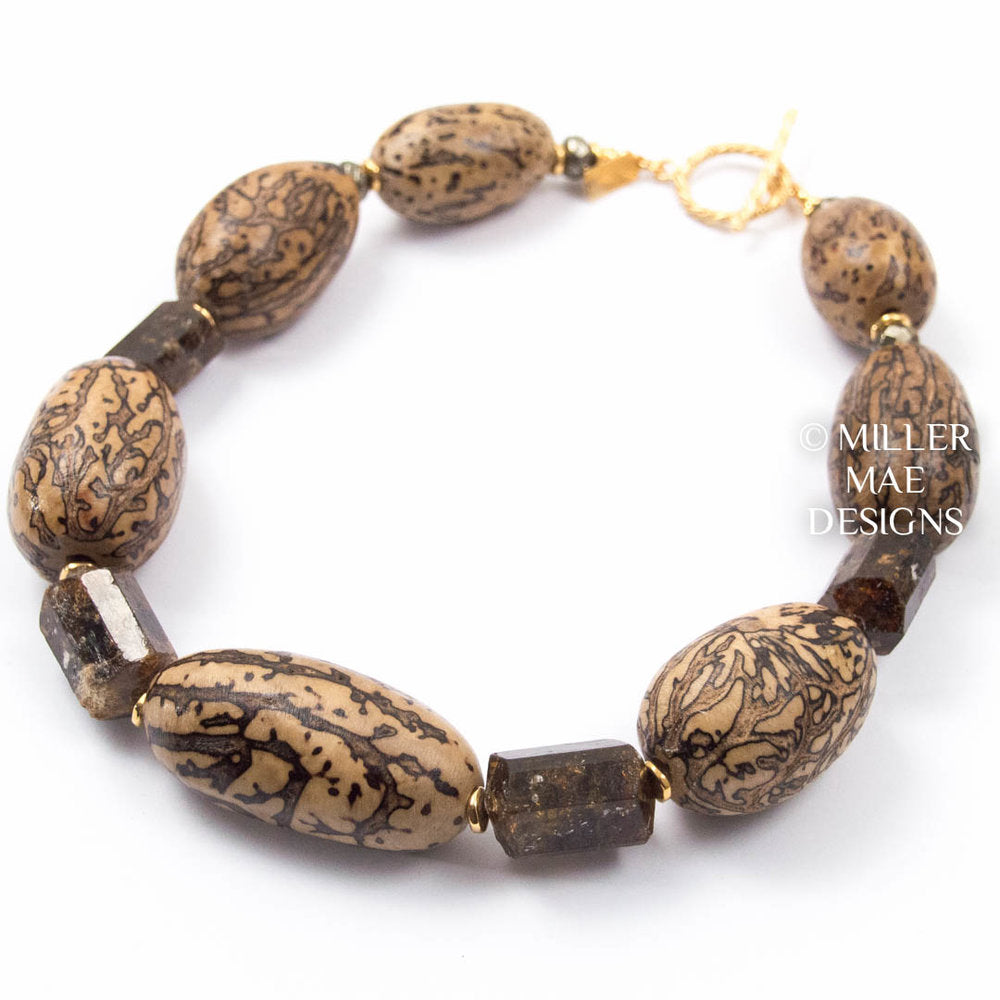 KENYAN PALM TREE NUT & CHOCOLATE TOURMALINE COLLAR NECKLACE