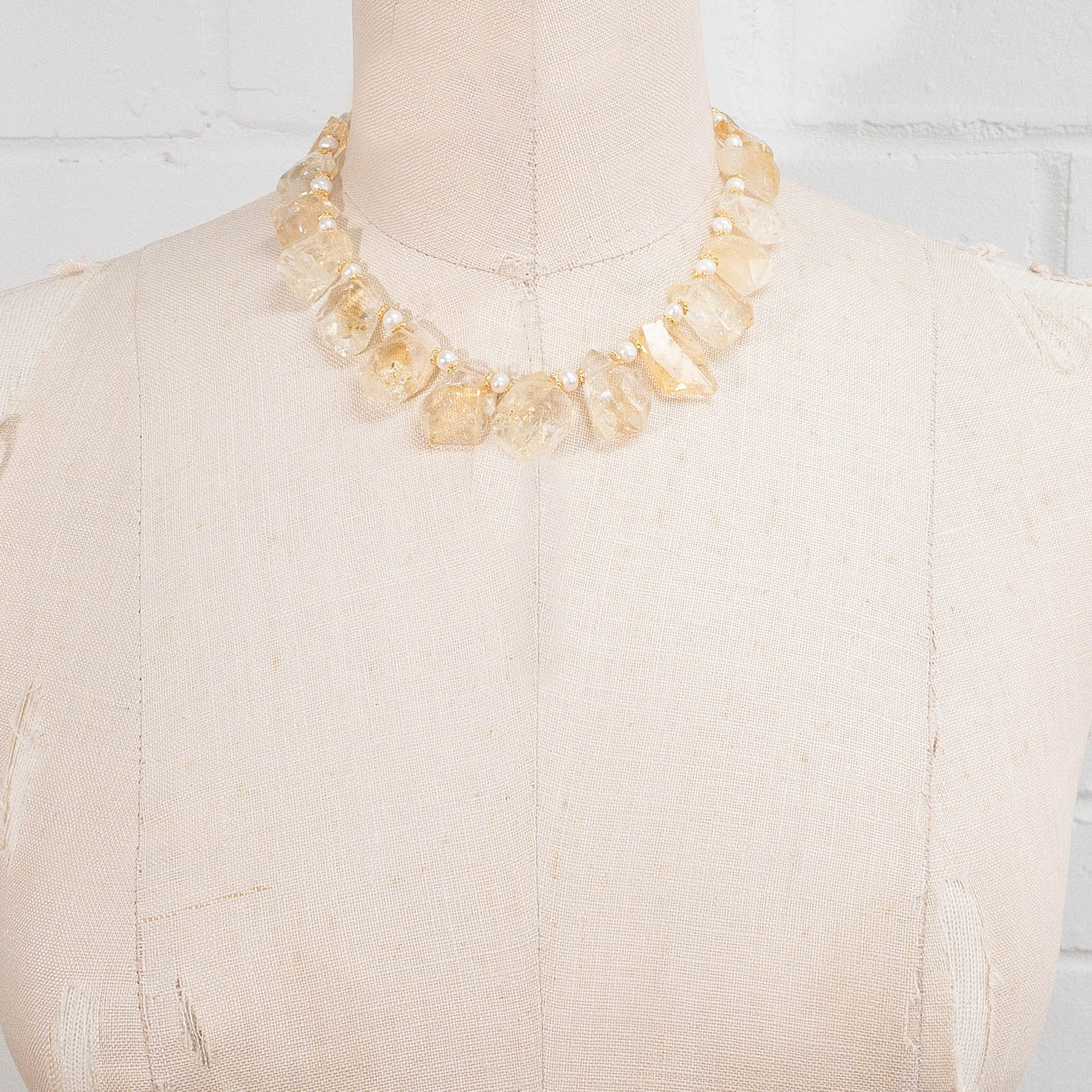 Citrine & Freshwater Pearl Statement Necklace